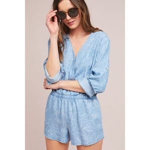 Anthropologie Cloth & Stone Chambray Romper
